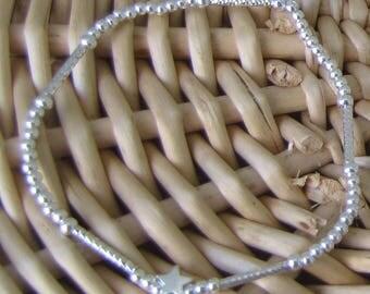 Silver beaded bracelet 925 elastic star