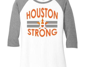 Houston Strong, Texas Strong, Baseball Raglan, Houston Astros, Houston Astros Strong Baseball Shirt, Custom Baseball Shirt, Custom Astros T