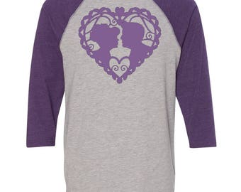 Princess Baseball Raglan, Valentines Day Shirt, Custom Valentines Day Gift, Gift for Her, Youth Valentines Day Shirt, Heart, Valentines