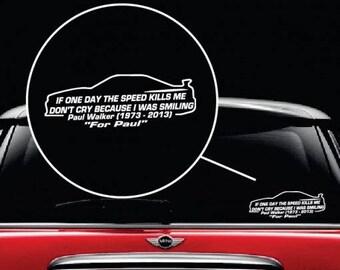Paul Walker Speed Vinyl Window Decal Sticker