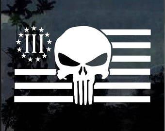 Three Percenter Punisher Skull Flag Vinyl Window Decal Sticker
