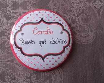 """Pocket mirror personalized """"witness that tears"""" wedding red and black"""