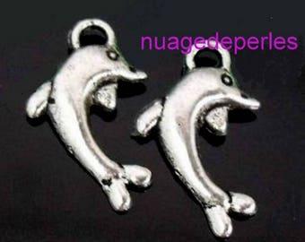 3 pendant Tibetan silver Dolphin charms