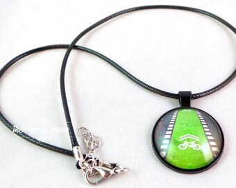 Dr. Awesome's Bucharest Romania Bike Lane Pendant Necklace
