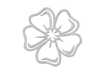 Glittery flower 7 cm in flex fusible silver openwork pattern