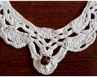 White cotton crocheted neck