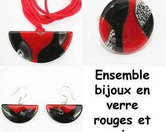 Matching black & red glass jewelry set
