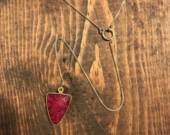 Ruby Corundum Triangle/ Gold Plated Brass Necklace