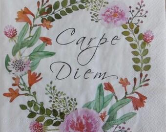 2 flower carpe diem paper napkins (293)