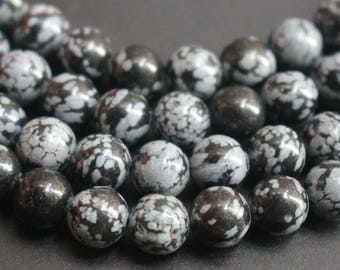 6mm 8mm 10mm 12mm Snowflake Obsidian Round Beads,15 inches strand beads