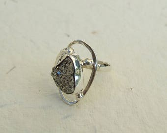 Pyrite and silver ring. Size 53