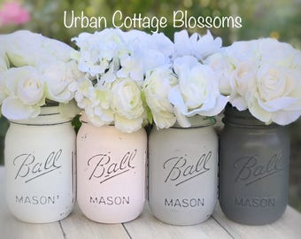 Painted mason jars in white, powder pink, aged gray, medium gray. Perfect for: wedding, baby shower, bathroom, kitchen, gift, flowers, mantl