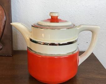 Art Deco Orange Fraunfelter Teapot