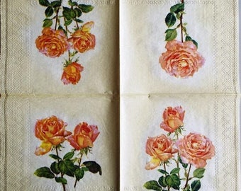 """TOWEL in paper pink and yellow Roses """"Pink Lady"""" #F032"""