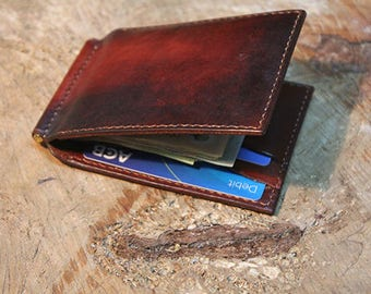 Leather money clip wallet, handmade minimalist wallet, slim wallet, Men leather wallet, Leather gifts for men, leather wallet for men