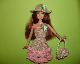 Barbie clothes Barbie birthday outfit  Barbie accessories Barbie dress Barbie doll  Barbie  Crochet  knit dress   Handmade dress Doll outfit
