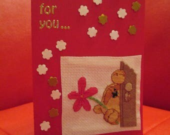card embroidered Valentine's day - timid man brings a little flower (customizable)