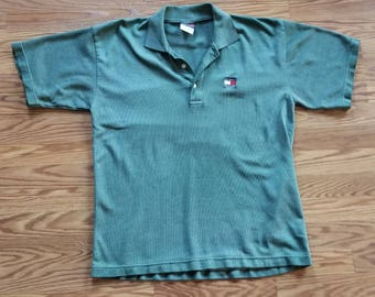 Tommy Hilfiger Vintage 90's Green Polo Shirt Large