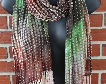 Rayon Silk Velvet Scarf - Huntsman handdyed on dots - Fringe