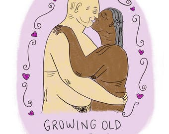 Growing old together illustration: Giclee A5 print