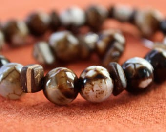 Agate and Wood Bracelet and Earring Set