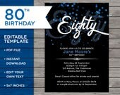 80th Birthday Invite, Cus...
