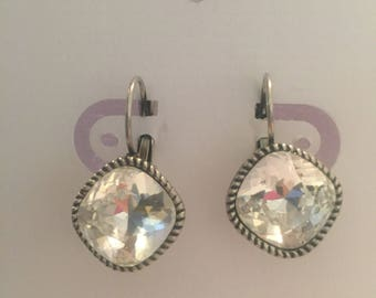 12mm square Swarovski crystal clear earrings