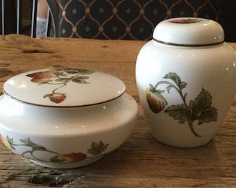 Coalport Bone China| Strawberry Pattern| Lided Trinket Box|Jam Jar|Made in England.