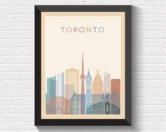 Toronto Skyline, Toronto Print, Toronto Poster, Toronto Wall Art, Toronto Map Print, Canada, Travel Art, Toronto Cityscape, Toronto, Ontario