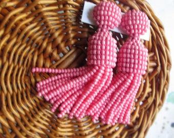coral color/oscar de la renta/stud earring/beading dangle/handmade/earrings/drop earrings/Short-tassel/dangle earrings/clip on earrings