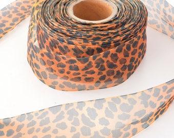 Organza Ribbon Japanese leopard Brown width 38mm x 3metres