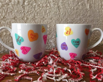 Valentines candy-heart coffee mugs