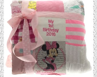 Personalized Memory Patchwork Blanket keepsake, Handmade from Baby Clothes