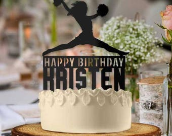 Personalized Cheerleader Happy Birthday Cake Topper