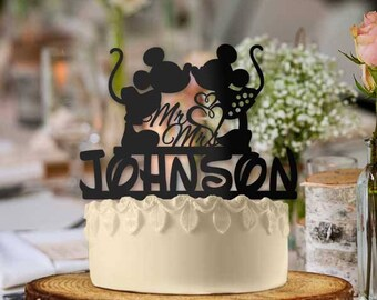 Personalized Mickey and Minnie Mr and Mrs Hearts Cake Topper