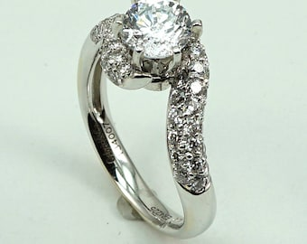 Engagement Ring 14K WG CZ Center Stone with 44-Diam Side Stones at 0.70 Cts.