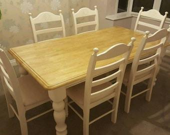 Superb 6FT Shabby Chic Table Set - Cream