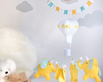 baby elephant mobile/baby nursery decor/baby shower gift/customized gift/ceiling mobile/crib mobile/hanging mobile/elephants mobile/