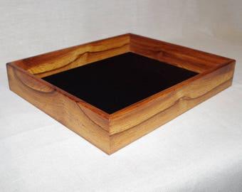 Handmade wooden valet tray box, Burmese rosewood