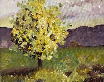 Tree in Field III, oil on canvas
