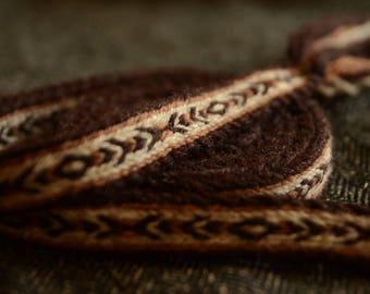 Handwoven belt / Tablet woven braid / Medieval woolen trim / Ladies belt / Viking tablet weaving / Medieval art / Brown white / 18 mm strap