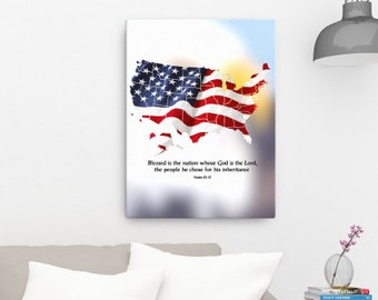 Psalm 33 12 United States Canvas; Scripture Art Gifts
