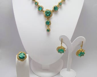 3 color bridal set silver jewelry sets, wedding sets, party, 925 sterling silver sets, prom, gift,
