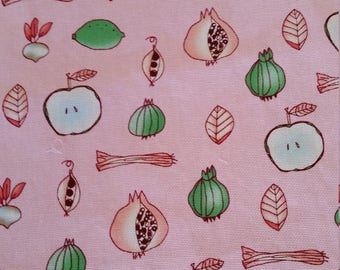 100 % Cotton Fabric Pink Background with Fruit and Veg