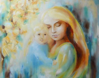 Mother with Baby, Portrait Woman and Child, Contemporary oil painting, For baby room, Gift for mom, Motherhood, Blonde angel, Baptism, Beige