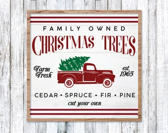 Vintage Christmas Tree Truck SVG, Red Christmas Tree Truck, Christmas Truck SVG, Sign, Vector, DXF, Print, Joanna Gaines, Magnolia Farms