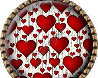 Bronze pendant Cabochon - shower of hearts (192)