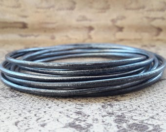 Round 3 mm black silver high quality European leather cord