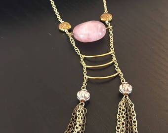 Gold tassle necklace, pink gemstone