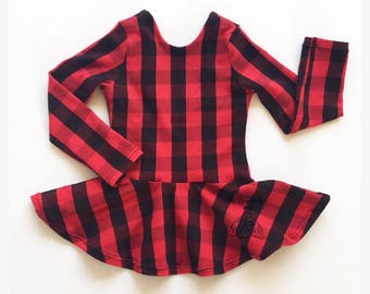 Black and Red Buffalo Plaid Peplum